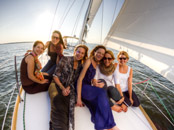 Beautiful women on a sailing tour charleston harbor